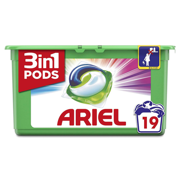 Ariel 3 in 1 Pods Laundry Detergent Capsules Colour & Style 19s