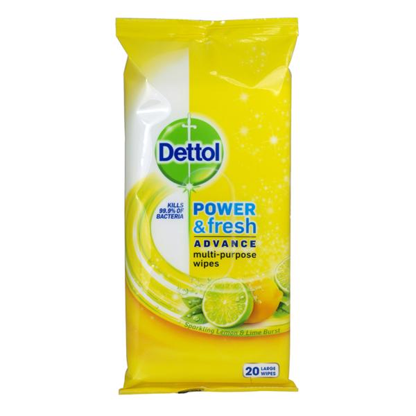 16 Dettol Power Fresh Adcance Mulkti Purpose Wipes 20 s Large Lemon